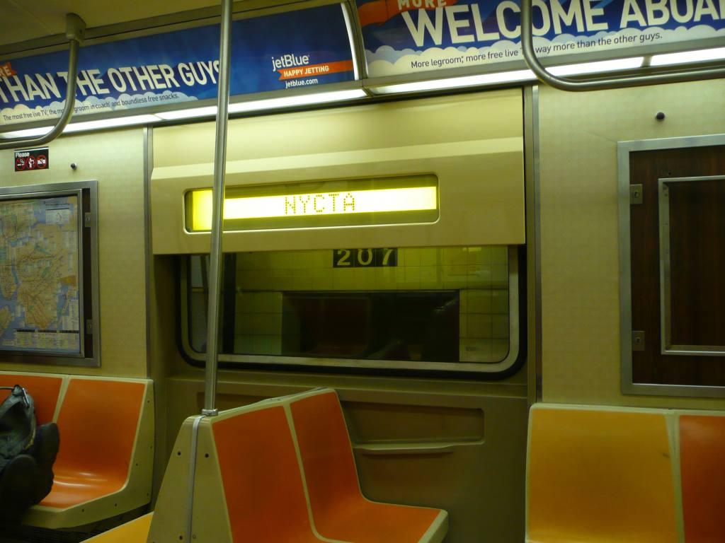 (102k, 1024x768)<br><b>Country:</b> United States<br><b>City:</b> New York<br><b>System:</b> New York City Transit<br><b>Route:</b> A<br><b>Car:</b> R-46 (Pullman-Standard, 1974-75) Interior <br><b>Photo by:</b> Robbie Rosenfeld<br><b>Date:</b> 5/18/2009<br><b>Notes:</b> R46 display reading NYCTA.<br><b>Viewed (this week/total):</b> 2 / 1457