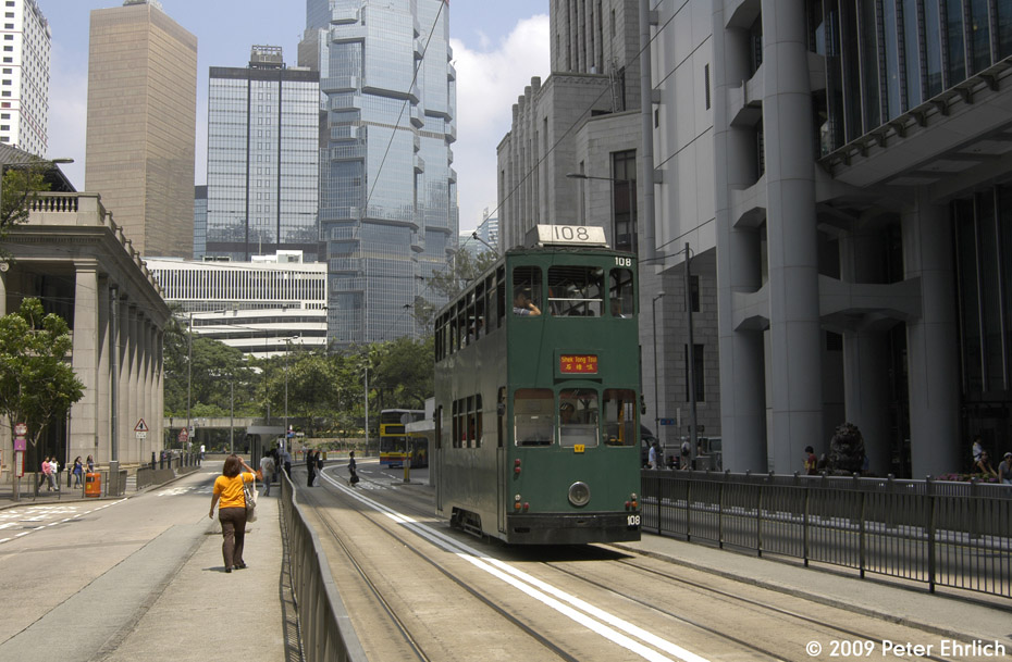 (207k, 930x609)<br><b>Country:</b> China (Hong Kong)<br><b>City:</b> Hong Kong<br><b>System:</b> Hong Kong Tramway Ltd.<br><b>Location:</b> Des Voeux Road Central/Ice House <br><b>Car:</b>  108 <br><b>Photo by:</b> Peter Ehrlich<br><b>Date:</b> 5/15/2009<br><b>Notes:</b> Des Voeux Road Central/Ice House Road, inbound.<br><b>Viewed (this week/total):</b> 0 / 366