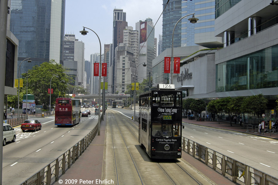 (227k, 930x618)<br><b>Country:</b> China (Hong Kong)<br><b>City:</b> Hong Kong<br><b>System:</b> Hong Kong Tramway Ltd.<br><b>Location:</b> Queensway/Pacific Place <br><b>Car:</b>  126 <br><b>Photo by:</b> Peter Ehrlich<br><b>Date:</b> 5/15/2009<br><b>Notes:</b> Inbound.<br><b>Viewed (this week/total):</b> 0 / 468