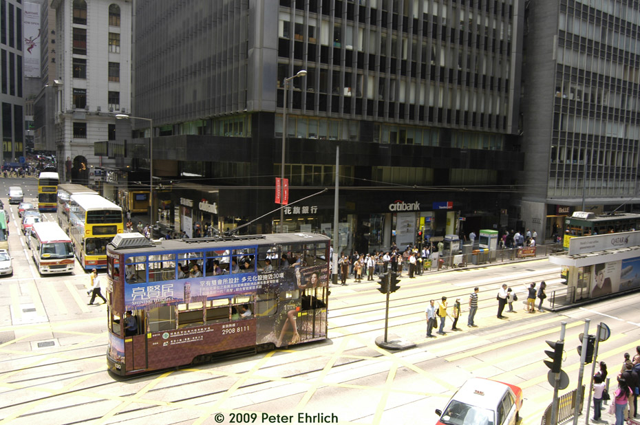 (246k, 930x618)<br><b>Country:</b> China (Hong Kong)<br><b>City:</b> Hong Kong<br><b>System:</b> Hong Kong Tramway Ltd.<br><b>Location:</b> Des Voeux Road Central/Pedder <br><b>Car:</b>  130 <br><b>Photo by:</b> Peter Ehrlich<br><b>Date:</b> 5/15/2009<br><b>Notes:</b> Des Voeux Road Central/Pedder, outbound.<br><b>Viewed (this week/total):</b> 2 / 510