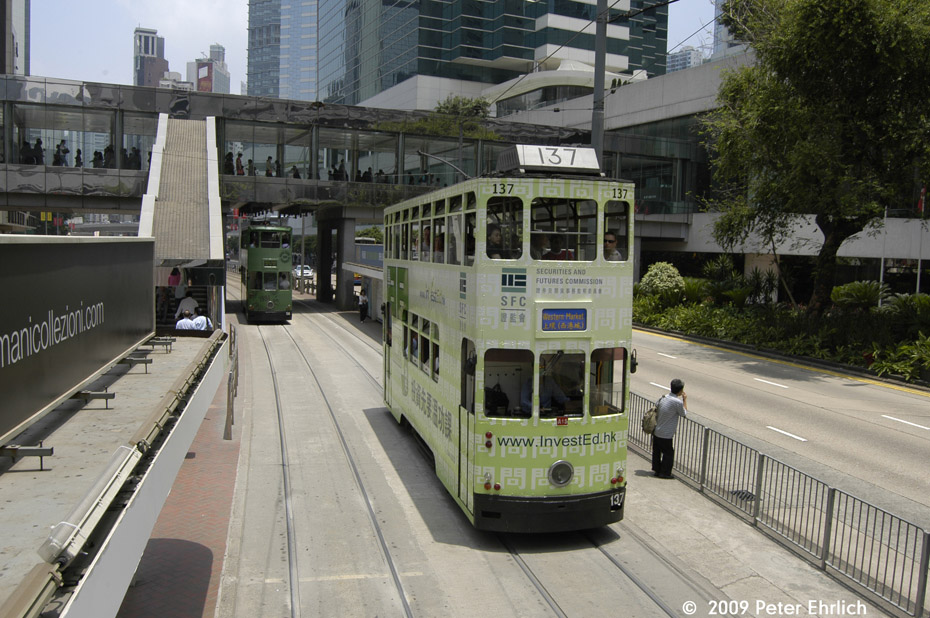 (227k, 930x618)<br><b>Country:</b> China (Hong Kong)<br><b>City:</b> Hong Kong<br><b>System:</b> Hong Kong Tramway Ltd.<br><b>Location:</b> Queensway/Pacific Place <br><b>Car:</b>  137 <br><b>Photo by:</b> Peter Ehrlich<br><b>Date:</b> 5/15/2009<br><b>Notes:</b> Inbound. With 56 outbound.<br><b>Viewed (this week/total):</b> 1 / 447