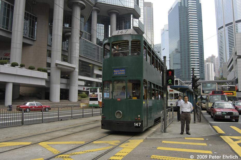 (229k, 930x618)<br><b>Country:</b> China (Hong Kong)<br><b>City:</b> Hong Kong<br><b>System:</b> Hong Kong Tramway Ltd.<br><b>Location:</b> Queensway/Cotton Tree <br><b>Car:</b>  147 <br><b>Photo by:</b> Peter Ehrlich<br><b>Date:</b> 5/15/2009<br><b>Viewed (this week/total):</b> 0 / 447