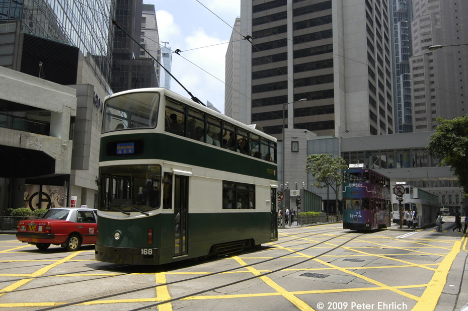 (219k, 930x618)<br><b>Country:</b> China (Hong Kong)<br><b>City:</b> Hong Kong<br><b>System:</b> Hong Kong Tramway Ltd.<br><b>Location:</b> Des Voeux Road Central/Pedder <br><b>Car:</b>  168 <br><b>Photo by:</b> Peter Ehrlich<br><b>Date:</b> 5/15/2009<br><b>Notes:</b> Des Voeux Road Central/Pedder outbound.  With 20 inbound.<br><b>Viewed (this week/total):</b> 2 / 504