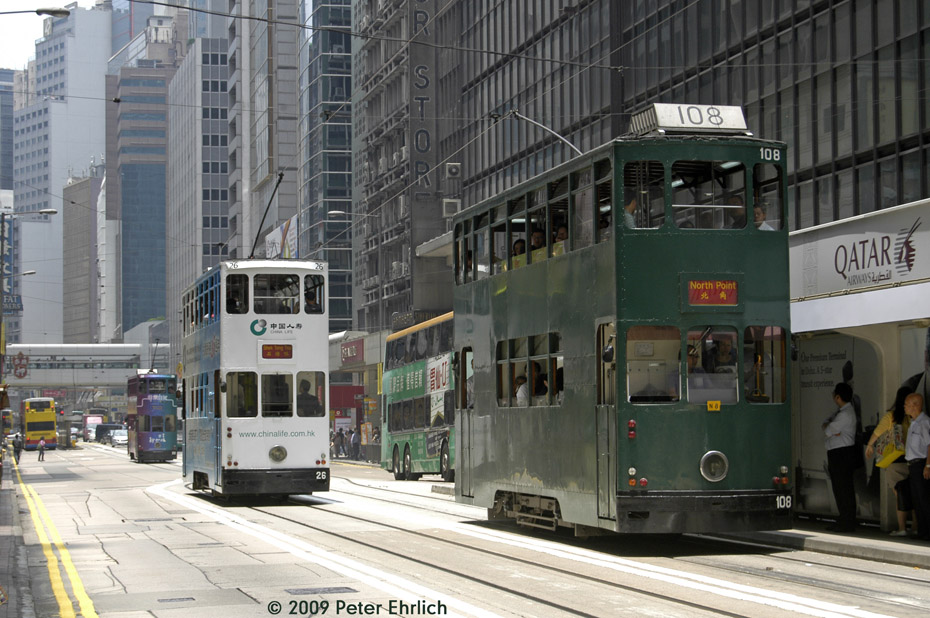 (217k, 930x618)<br><b>Country:</b> China (Hong Kong)<br><b>City:</b> Hong Kong<br><b>System:</b> Hong Kong Tramway Ltd.<br><b>Location:</b> Des Voeux Road Central/Pedder <br><b>Car:</b>  26 <br><b>Photo by:</b> Peter Ehrlich<br><b>Date:</b> 5/15/2009<br><b>Notes:</b> Des Voeux Road Central/Pedder inbound.  With 108 outbound.<br><b>Viewed (this week/total):</b> 0 / 483