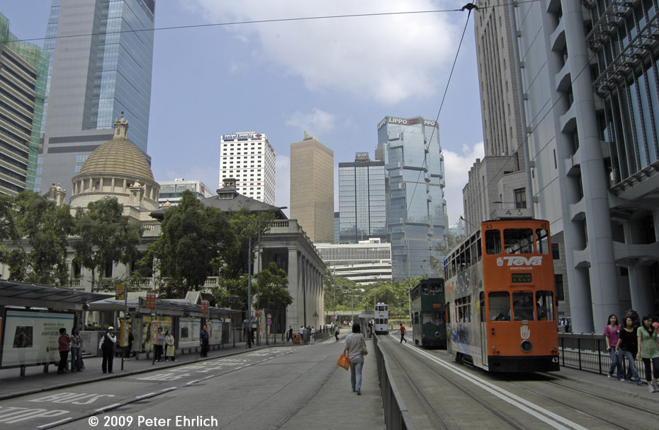 (207k, 930x608)<br><b>Country:</b> China (Hong Kong)<br><b>City:</b> Hong Kong<br><b>System:</b> Hong Kong Tramway Ltd.<br><b>Location:</b> Des Voeux Road Central/Ice House <br><b>Car:</b>  43 <br><b>Photo by:</b> Peter Ehrlich<br><b>Date:</b> 5/15/2009<br><b>Notes:</b> Des Voeux Road Central/Ice House Road, inbound.<br><b>Viewed (this week/total):</b> 0 / 470