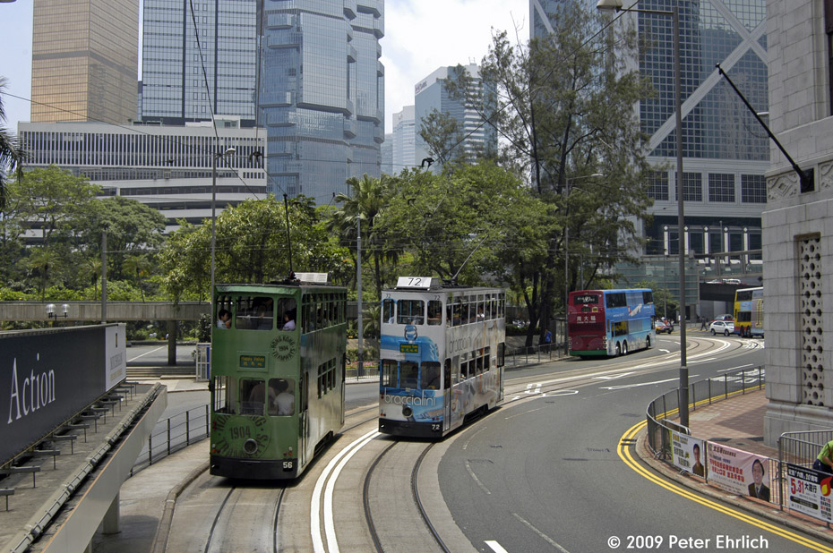 (263k, 930x618)<br><b>Country:</b> China (Hong Kong)<br><b>City:</b> Hong Kong<br><b>System:</b> Hong Kong Tramway Ltd.<br><b>Location:</b> Des Voeux Road Central/Jackson <br><b>Car:</b>  56 <br><b>Photo by:</b> Peter Ehrlich<br><b>Date:</b> 5/15/2009<br><b>Notes:</b> Des Voeux Road Central/Jackson outbound.  With 72 inbound.<br><b>Viewed (this week/total):</b> 1 / 500