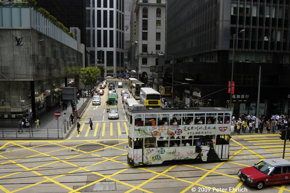 (242k, 930x618)<br><b>Country:</b> China (Hong Kong)<br><b>City:</b> Hong Kong<br><b>System:</b> Hong Kong Tramway Ltd.<br><b>Location:</b> Des Voeux Road Central/Pedder <br><b>Car:</b>  87 <br><b>Photo by:</b> Peter Ehrlich<br><b>Date:</b> 5/15/2009<br><b>Notes:</b> Des Voeux Road Central/Pedder, outbound.<br><b>Viewed (this week/total):</b> 0 / 435