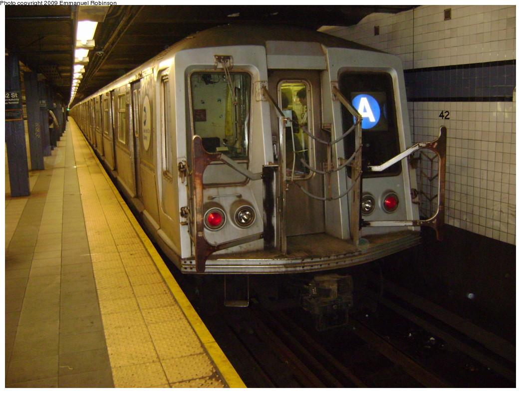 (235k, 1044x788)<br><b>Country:</b> United States<br><b>City:</b> New York<br><b>System:</b> New York City Transit<br><b>Line:</b> IND 8th Avenue Line<br><b>Location:</b> 42nd Street/Port Authority Bus Terminal <br><b>Route:</b> A<br><b>Car:</b> R-40 (St. Louis, 1968)  4300 <br><b>Photo by:</b> Emmanuel Robinson<br><b>Date:</b> 5/2/2009<br><b>Viewed (this week/total):</b> 0 / 2206