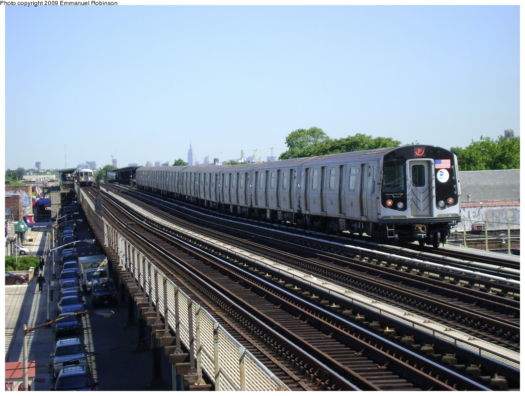 (249k, 1044x788)<br><b>Country:</b> United States<br><b>City:</b> New York<br><b>System:</b> New York City Transit<br><b>Line:</b> BMT Culver Line<br><b>Location:</b> Bay Parkway (22nd Avenue) <br><b>Route:</b> F<br><b>Car:</b> R-160A (Option 1) (Alstom, 2008-2009, 5 car sets)   <br><b>Photo by:</b> Emmanuel Robinson<br><b>Date:</b> 6/1/2009<br><b>Viewed (this week/total):</b> 2 / 1389