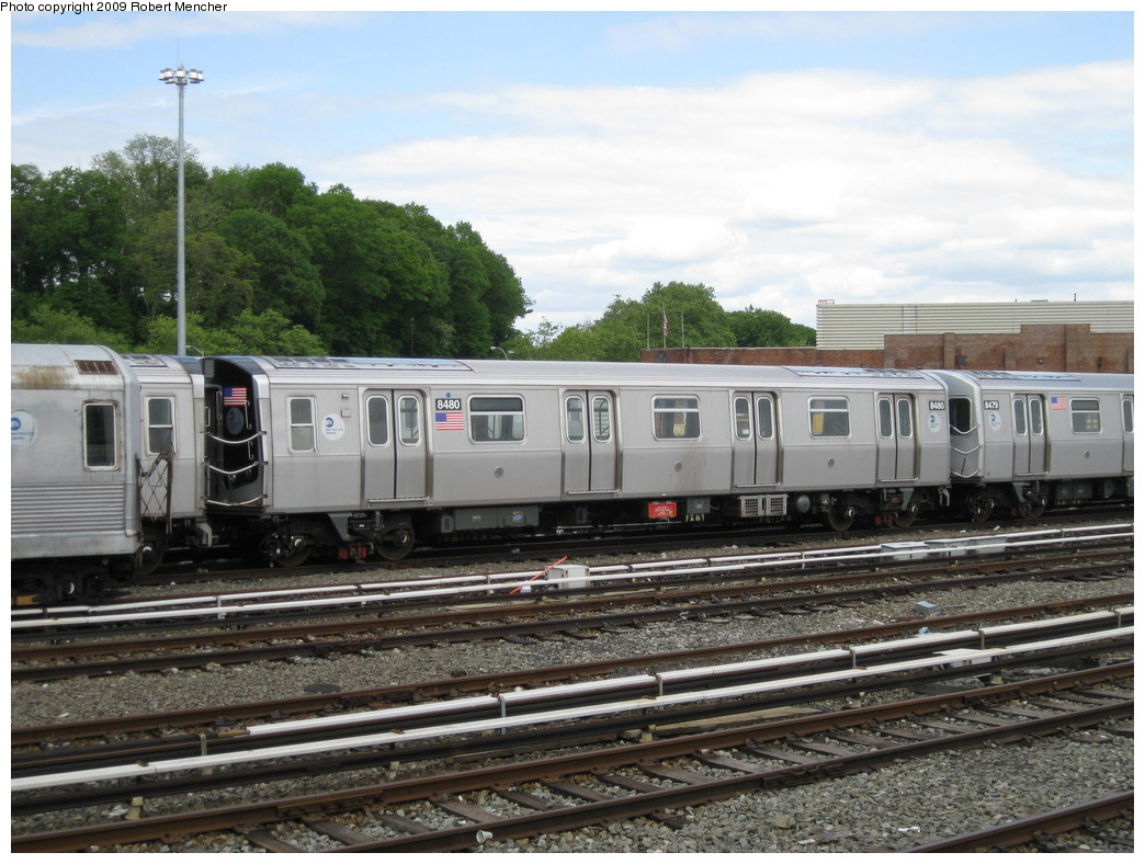 (236k, 1044x788)<br><b>Country:</b> United States<br><b>City:</b> New York<br><b>System:</b> New York City Transit<br><b>Location:</b> East New York Yard/Shops<br><b>Car:</b> R-160A-1 (Alstom, 2005-2008, 4 car sets)  8480 <br><b>Photo by:</b> Robert Mencher<br><b>Date:</b> 5/18/2009<br><b>Viewed (this week/total):</b> 0 / 794