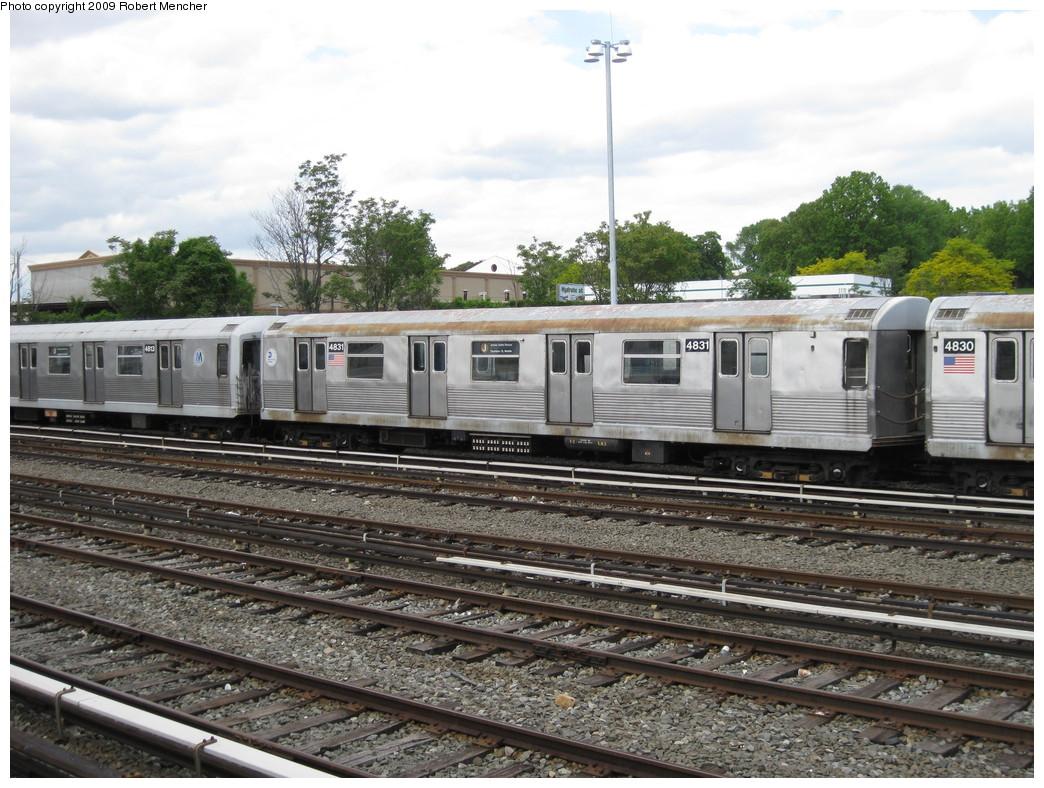 (261k, 1044x788)<br><b>Country:</b> United States<br><b>City:</b> New York<br><b>System:</b> New York City Transit<br><b>Location:</b> East New York Yard/Shops<br><b>Car:</b> R-42 (St. Louis, 1969-1970)  4831 <br><b>Photo by:</b> Robert Mencher<br><b>Date:</b> 5/18/2009<br><b>Viewed (this week/total):</b> 2 / 988