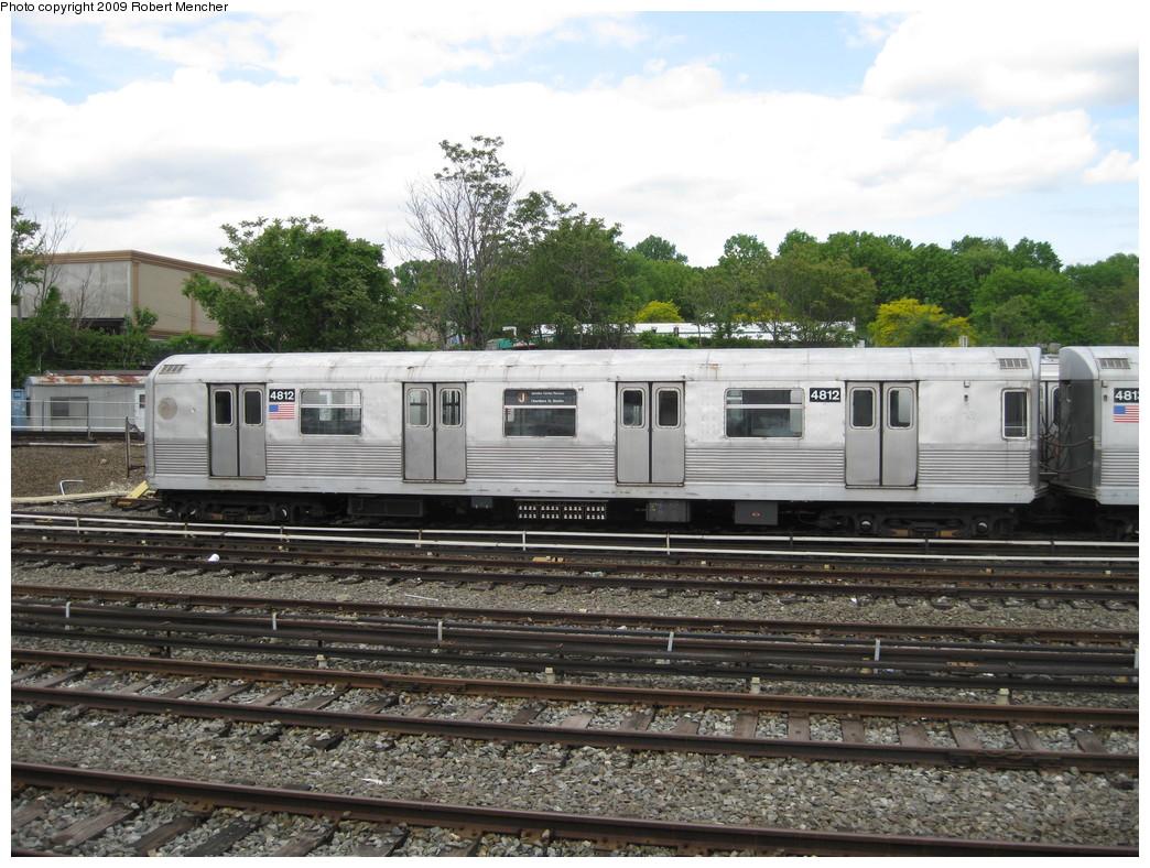 (260k, 1044x788)<br><b>Country:</b> United States<br><b>City:</b> New York<br><b>System:</b> New York City Transit<br><b>Location:</b> East New York Yard/Shops<br><b>Car:</b> R-42 (St. Louis, 1969-1970)  4812 <br><b>Photo by:</b> Robert Mencher<br><b>Date:</b> 5/18/2009<br><b>Viewed (this week/total):</b> 0 / 831