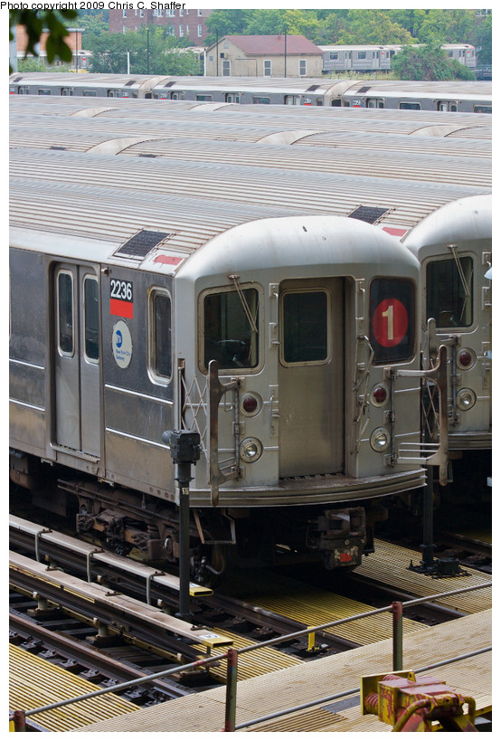 (186k, 554x819)<br><b>Country:</b> United States<br><b>City:</b> New York<br><b>System:</b> New York City Transit<br><b>Location:</b> 240th Street Yard<br><b>Car:</b> R-62A (Bombardier, 1984-1987)  2236 <br><b>Photo by:</b> Chris C. Shaffer<br><b>Date:</b> 8/2/2008<br><b>Viewed (this week/total):</b> 12 / 1393