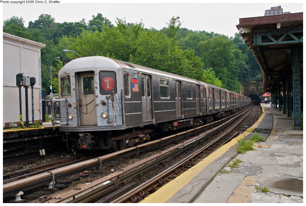 (323k, 1044x702)<br><b>Country:</b> United States<br><b>City:</b> New York<br><b>System:</b> New York City Transit<br><b>Line:</b> IRT West Side Line<br><b>Location:</b> Dyckman Street <br><b>Route:</b> 1<br><b>Car:</b> R-62A (Bombardier, 1984-1987)  2346 <br><b>Photo by:</b> Chris C. Shaffer<br><b>Date:</b> 8/2/2008<br><b>Viewed (this week/total):</b> 3 / 1095