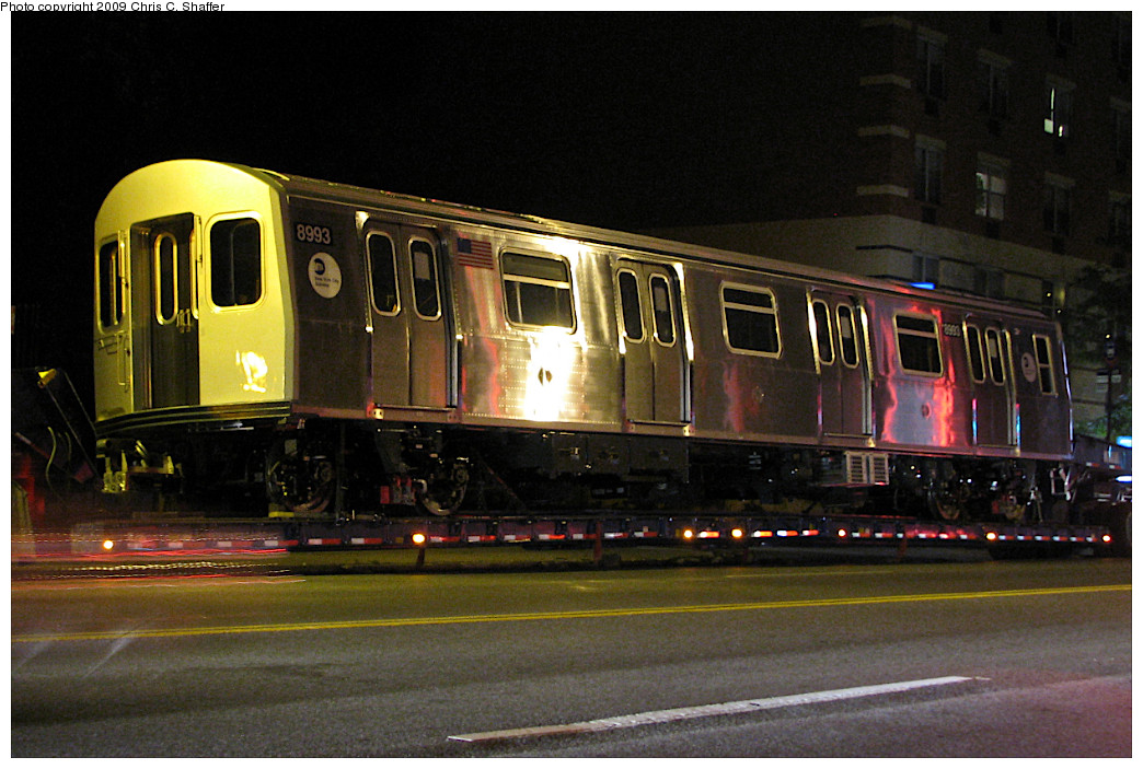 (248k, 1044x703)<br><b>Country:</b> United States<br><b>City:</b> New York<br><b>System:</b> New York City Transit<br><b>Location:</b> Car Delivery - Broadway & Mosholu Ave<br><b>Car:</b> R-160B (Option 1) (Kawasaki, 2008-2009)  8993 <br><b>Photo by:</b> Chris C. Shaffer<br><b>Date:</b> 5/28/2008<br><b>Notes:</b> New R160 being trucked from Kawasaki plant in Yonkers, NY<br><b>Viewed (this week/total):</b> 0 / 1167