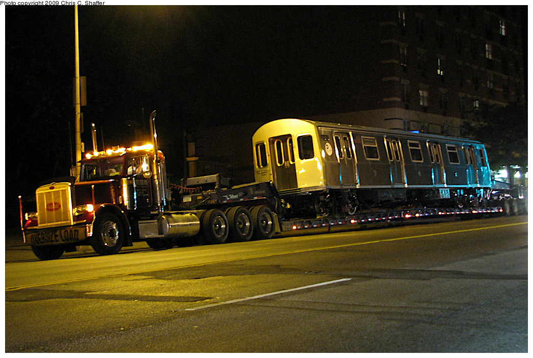 (271k, 1044x702)<br><b>Country:</b> United States<br><b>City:</b> New York<br><b>System:</b> New York City Transit<br><b>Location:</b> Car Delivery - Broadway & Mosholu Ave<br><b>Car:</b> R-160B (Option 1) (Kawasaki, 2008-2009)  8993 <br><b>Photo by:</b> Chris C. Shaffer<br><b>Date:</b> 5/28/2008<br><b>Notes:</b> New R160 being trucked from Kawasaki plant in Yonkers, NY<br><b>Viewed (this week/total):</b> 2 / 1289