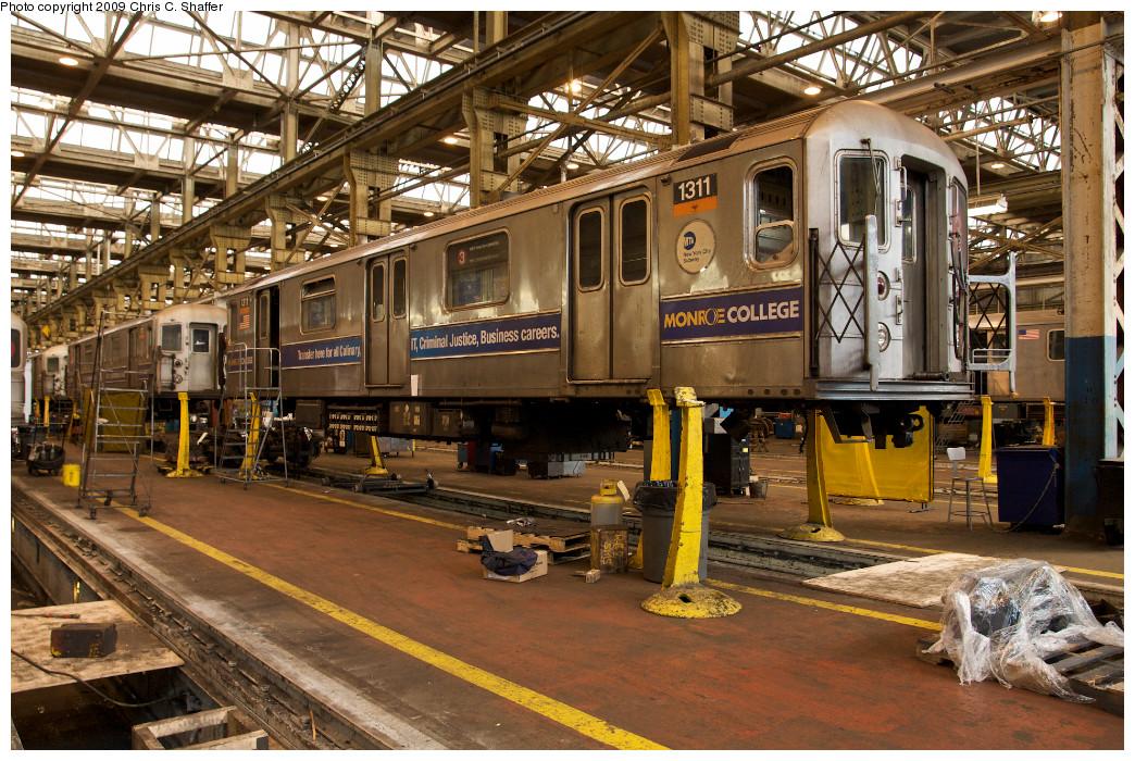 (351k, 1044x700)<br><b>Country:</b> United States<br><b>City:</b> New York<br><b>System:</b> New York City Transit<br><b>Location:</b> 207th Street Shop<br><b>Car:</b> R-62 (Kawasaki, 1983-1985)  1311 <br><b>Photo by:</b> Chris C. Shaffer<br><b>Date:</b> 1/25/2009<br><b>Viewed (this week/total):</b> 2 / 1105