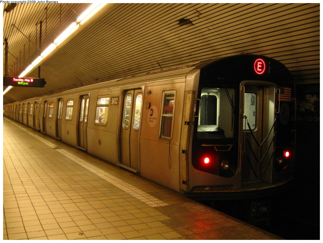 (218k, 1044x788)<br><b>Country:</b> United States<br><b>City:</b> New York<br><b>System:</b> New York City Transit<br><b>Line:</b> IND Queens Boulevard Line<br><b>Location:</b> 5th Avenue/53rd Street <br><b>Route:</b> E<br><b>Car:</b> R-160A (Option 1) (Alstom, 2008-2009, 5 car sets)  9412 <br><b>Photo by:</b> John Barnes<br><b>Date:</b> 5/19/2009<br><b>Viewed (this week/total):</b> 7 / 1792
