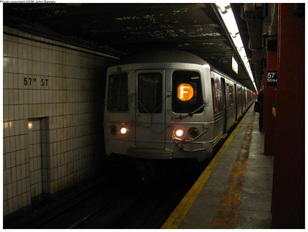 (158k, 1044x788)<br><b>Country:</b> United States<br><b>City:</b> New York<br><b>System:</b> New York City Transit<br><b>Line:</b> IND 6th Avenue Line<br><b>Location:</b> 57th Street <br><b>Route:</b> F<br><b>Car:</b> R-46 (Pullman-Standard, 1974-75) 5888 <br><b>Photo by:</b> John Barnes<br><b>Date:</b> 6/2/2009<br><b>Viewed (this week/total):</b> 1 / 1479