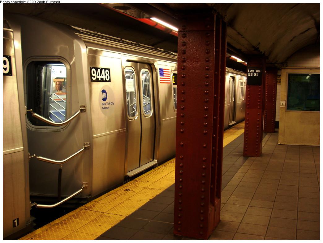 (254k, 1044x788)<br><b>Country:</b> United States<br><b>City:</b> New York<br><b>System:</b> New York City Transit<br><b>Line:</b> IND Queens Boulevard Line<br><b>Location:</b> Lexington Avenue-53rd Street <br><b>Route:</b> Testing<br><b>Car:</b> R-160A (Option 1) (Alstom, 2008-2009, 5 car sets)  9448 <br><b>Photo by:</b> Zach Summer<br><b>Date:</b> 5/28/2009<br><b>Viewed (this week/total):</b> 0 / 2112
