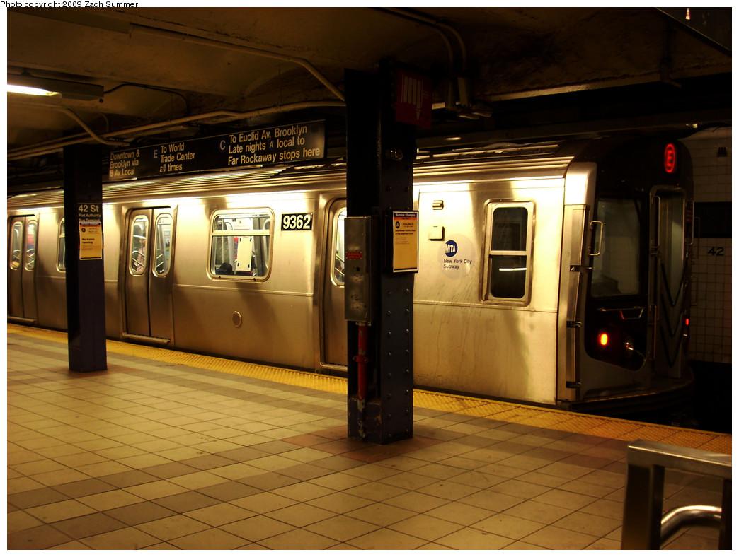 (256k, 1044x788)<br><b>Country:</b> United States<br><b>City:</b> New York<br><b>System:</b> New York City Transit<br><b>Line:</b> IND 8th Avenue Line<br><b>Location:</b> 42nd Street/Port Authority Bus Terminal <br><b>Route:</b> E<br><b>Car:</b> R-160A (Option 1) (Alstom, 2008-2009, 5 car sets)  9362 <br><b>Photo by:</b> Zach Summer<br><b>Date:</b> 5/28/2009<br><b>Viewed (this week/total):</b> 1 / 2276