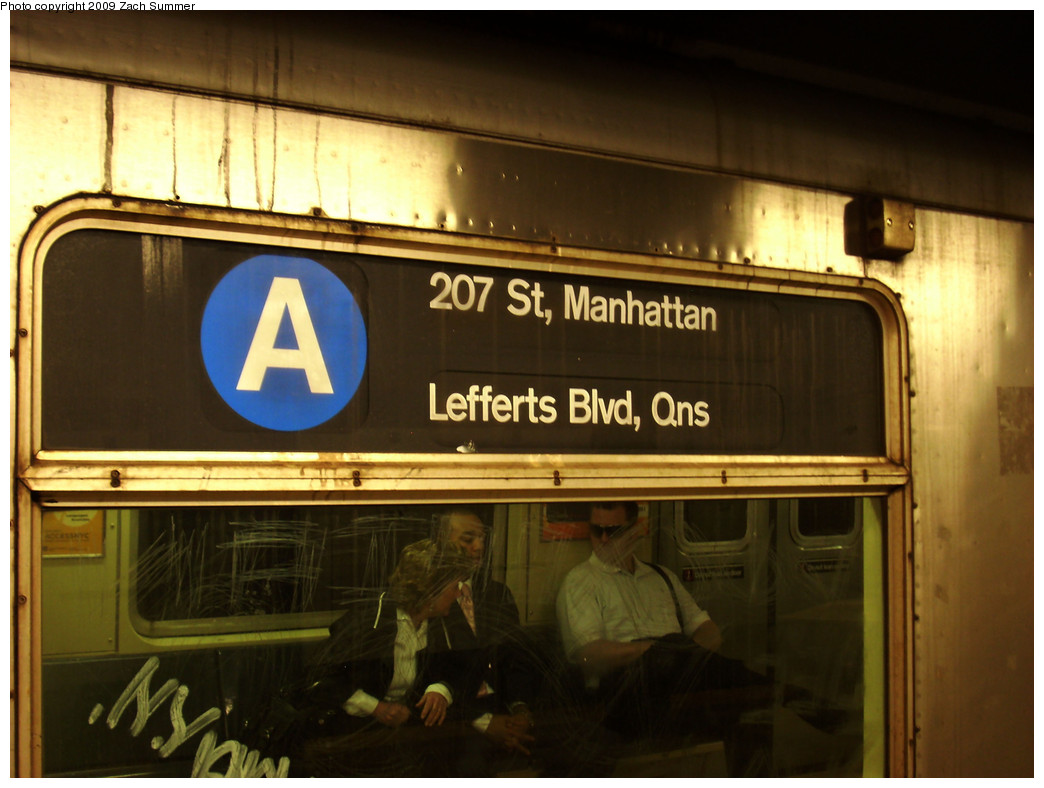 (226k, 1044x788)<br><b>Country:</b> United States<br><b>City:</b> New York<br><b>System:</b> New York City Transit<br><b>Line:</b> IND 8th Avenue Line<br><b>Location:</b> 34th Street/Penn Station <br><b>Route:</b> A<br><b>Car:</b> R-40 (St. Louis, 1968)  4257 <br><b>Photo by:</b> Zach Summer<br><b>Date:</b> 5/28/2009<br><b>Notes:</b> A train rollsign<br><b>Viewed (this week/total):</b> 0 / 1725
