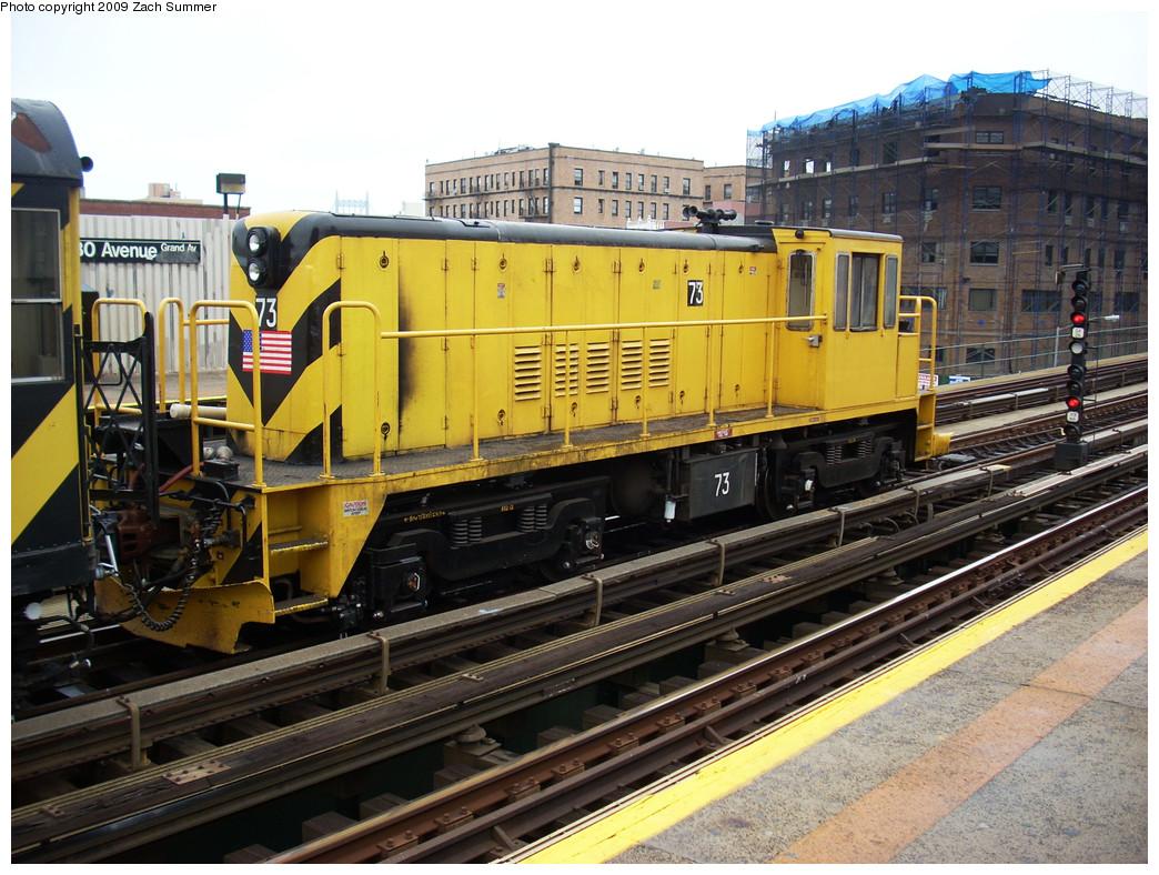 (315k, 1044x788)<br><b>Country:</b> United States<br><b>City:</b> New York<br><b>System:</b> New York City Transit<br><b>Line:</b> BMT Astoria Line<br><b>Location:</b> 30th/Grand Aves. <br><b>Route:</b> Work Service<br><b>Car:</b> R-52 Locomotive  73 <br><b>Photo by:</b> Zach Summer<br><b>Date:</b> 5/28/2009<br><b>Viewed (this week/total):</b> 2 / 1145
