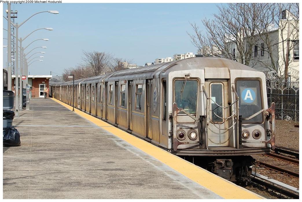 (295k, 1044x699)<br><b>Country:</b> United States<br><b>City:</b> New York<br><b>System:</b> New York City Transit<br><b>Line:</b> IND Rockaway<br><b>Location:</b> Rockaway Park/Beach 116th Street <br><b>Route:</b> A<br><b>Car:</b> R-40 (St. Louis, 1968)  4291 <br><b>Photo by:</b> Michael Hodurski<br><b>Date:</b> 4/17/2008<br><b>Viewed (this week/total):</b> 2 / 1007