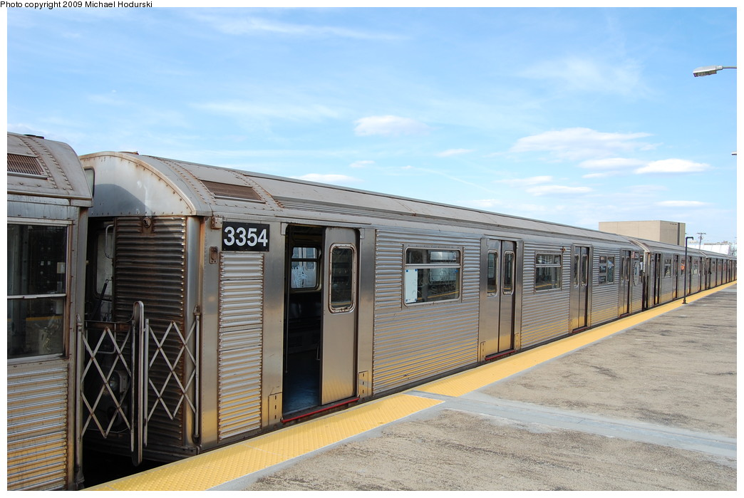 (247k, 1044x699)<br><b>Country:</b> United States<br><b>City:</b> New York<br><b>System:</b> New York City Transit<br><b>Line:</b> IND Rockaway<br><b>Location:</b> Rockaway Park/Beach 116th Street <br><b>Route:</b> A<br><b>Car:</b> R-32 (Budd, 1964)  3354 <br><b>Photo by:</b> Michael Hodurski<br><b>Date:</b> 4/17/2008<br><b>Viewed (this week/total):</b> 0 / 887