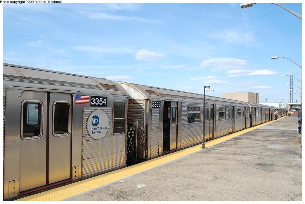 (213k, 1044x699)<br><b>Country:</b> United States<br><b>City:</b> New York<br><b>System:</b> New York City Transit<br><b>Line:</b> IND Rockaway<br><b>Location:</b> Rockaway Park/Beach 116th Street <br><b>Route:</b> A<br><b>Car:</b> R-32 (Budd, 1964)  3355 <br><b>Photo by:</b> Michael Hodurski<br><b>Date:</b> 4/17/2008<br><b>Viewed (this week/total):</b> 0 / 832