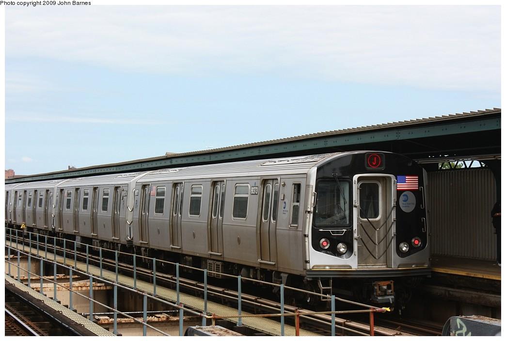 (169k, 1044x703)<br><b>Country:</b> United States<br><b>City:</b> New York<br><b>System:</b> New York City Transit<br><b>Line:</b> BMT Nassau Street/Jamaica Line<br><b>Location:</b> 121st Street <br><b>Route:</b> J<br><b>Car:</b> R-160A-1 (Alstom, 2005-2008, 4 car sets)  8373 <br><b>Photo by:</b> John Barnes<br><b>Date:</b> 6/15/2009<br><b>Viewed (this week/total):</b> 0 / 1272