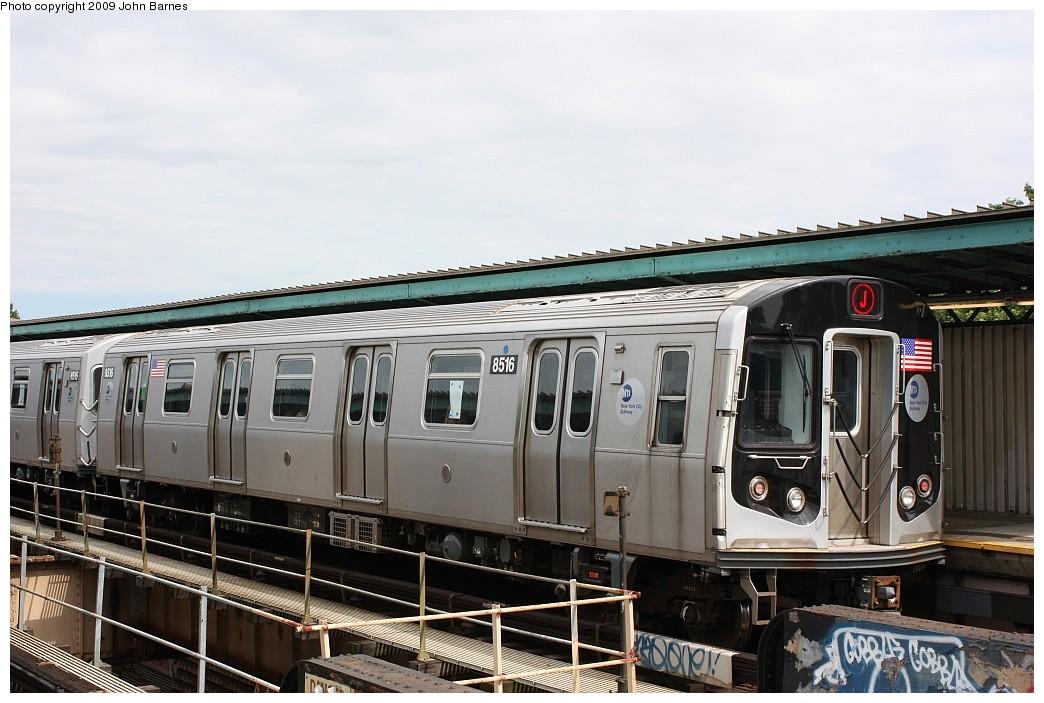 (189k, 1044x703)<br><b>Country:</b> United States<br><b>City:</b> New York<br><b>System:</b> New York City Transit<br><b>Line:</b> BMT Nassau Street/Jamaica Line<br><b>Location:</b> 102nd-104th Streets <br><b>Route:</b> J<br><b>Car:</b> R-160A-1 (Alstom, 2005-2008, 4 car sets)  8516 <br><b>Photo by:</b> John Barnes<br><b>Date:</b> 6/15/2009<br><b>Viewed (this week/total):</b> 1 / 1301