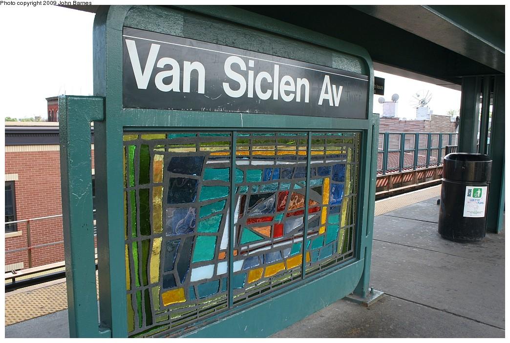 (246k, 1044x703)<br><b>Country:</b> United States<br><b>City:</b> New York<br><b>System:</b> New York City Transit<br><b>Line:</b> BMT Nassau Street/Jamaica Line<br><b>Location:</b> Van Siclen Avenue <br><b>Photo by:</b> John Barnes<br><b>Date:</b> 6/15/2009<br><b>Artwork:</b> <i>The View From Here</i>, Barbara Ellmann (2007).<br><b>Viewed (this week/total):</b> 0 / 1431