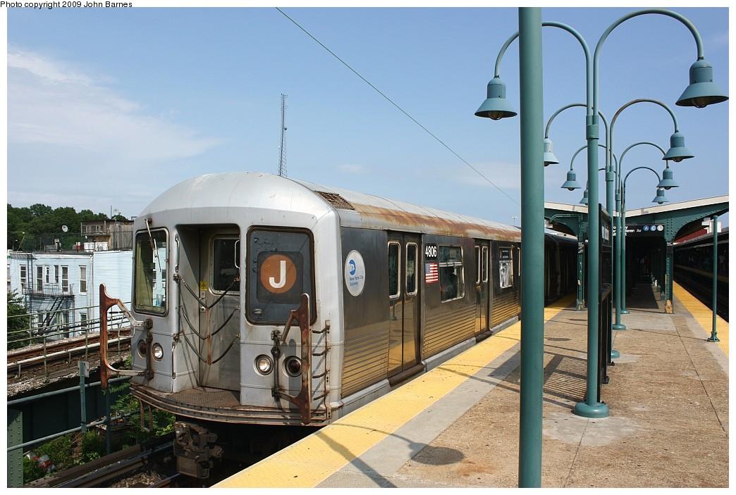 (211k, 1044x703)<br><b>Country:</b> United States<br><b>City:</b> New York<br><b>System:</b> New York City Transit<br><b>Line:</b> BMT Nassau Street/Jamaica Line<br><b>Location:</b> Broadway/East New York (Broadway Junction) <br><b>Route:</b> J<br><b>Car:</b> R-42 (St. Louis, 1969-1970)  4806 <br><b>Photo by:</b> John Barnes<br><b>Date:</b> 6/15/2009<br><b>Viewed (this week/total):</b> 1 / 1322