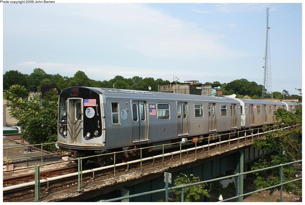 (226k, 1044x703)<br><b>Country:</b> United States<br><b>City:</b> New York<br><b>System:</b> New York City Transit<br><b>Location:</b> East New York Yard/Shops<br><b>Car:</b> R-160A-1 (Alstom, 2005-2008, 4 car sets)  8540 <br><b>Photo by:</b> John Barnes<br><b>Date:</b> 6/15/2009<br><b>Viewed (this week/total):</b> 1 / 897