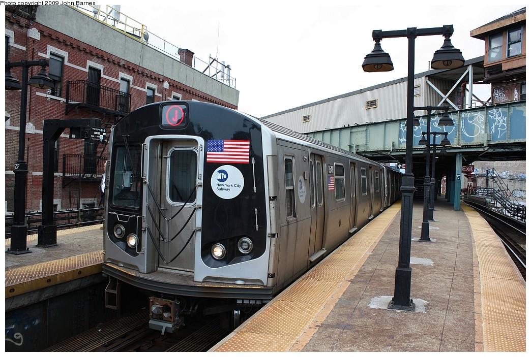 (253k, 1044x703)<br><b>Country:</b> United States<br><b>City:</b> New York<br><b>System:</b> New York City Transit<br><b>Line:</b> BMT Nassau Street/Jamaica Line<br><b>Location:</b> Myrtle Avenue <br><b>Route:</b> J<br><b>Car:</b> R-160A-1 (Alstom, 2005-2008, 4 car sets)  8541 <br><b>Photo by:</b> John Barnes<br><b>Date:</b> 6/15/2009<br><b>Viewed (this week/total):</b> 2 / 1524