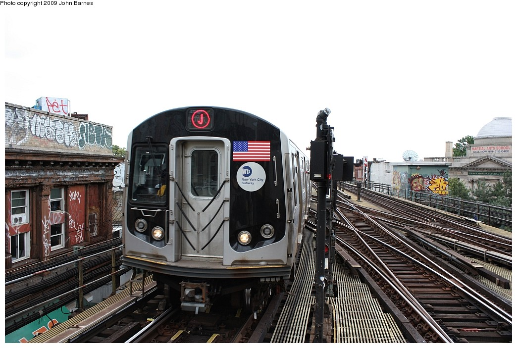 (216k, 1044x703)<br><b>Country:</b> United States<br><b>City:</b> New York<br><b>System:</b> New York City Transit<br><b>Line:</b> BMT Nassau Street/Jamaica Line<br><b>Location:</b> Myrtle Avenue <br><b>Route:</b> J<br><b>Car:</b> R-160A-1 (Alstom, 2005-2008, 4 car sets)  8561 <br><b>Photo by:</b> John Barnes<br><b>Date:</b> 6/15/2009<br><b>Viewed (this week/total):</b> 2 / 1559