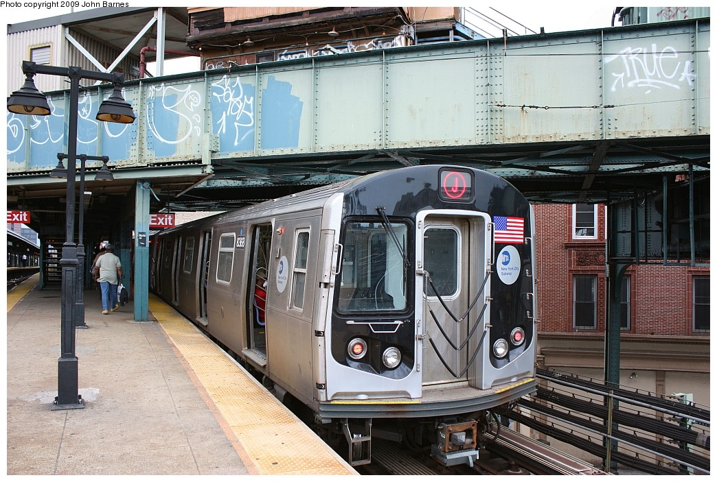 (270k, 1044x703)<br><b>Country:</b> United States<br><b>City:</b> New York<br><b>System:</b> New York City Transit<br><b>Line:</b> BMT Nassau Street/Jamaica Line<br><b>Location:</b> Myrtle Avenue <br><b>Route:</b> J<br><b>Car:</b> R-160A-1 (Alstom, 2005-2008, 4 car sets)  8368 <br><b>Photo by:</b> John Barnes<br><b>Date:</b> 6/15/2009<br><b>Viewed (this week/total):</b> 3 / 1431
