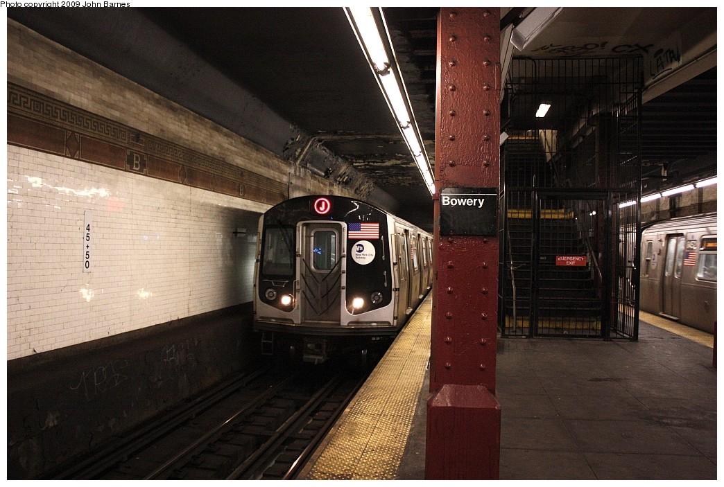 (217k, 1044x703)<br><b>Country:</b> United States<br><b>City:</b> New York<br><b>System:</b> New York City Transit<br><b>Line:</b> BMT Nassau Street/Jamaica Line<br><b>Location:</b> Bowery <br><b>Route:</b> J<br><b>Car:</b> R-160A-1 (Alstom, 2005-2008, 4 car sets)  8369 <br><b>Photo by:</b> John Barnes<br><b>Date:</b> 6/15/2009<br><b>Viewed (this week/total):</b> 1 / 1703