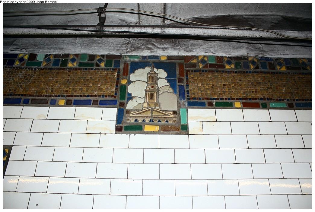(218k, 1044x703)<br><b>Country:</b> United States<br><b>City:</b> New York<br><b>System:</b> New York City Transit<br><b>Line:</b> IRT Brooklyn Line<br><b>Location:</b> Borough Hall (West Side Branch) <br><b>Photo by:</b> John Barnes<br><b>Date:</b> 6/15/2009<br><b>Notes:</b> Mosaic tablet.<br><b>Viewed (this week/total):</b> 0 / 1020
