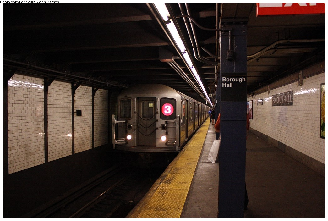 (180k, 1044x703)<br><b>Country:</b> United States<br><b>City:</b> New York<br><b>System:</b> New York City Transit<br><b>Line:</b> IRT Brooklyn Line<br><b>Location:</b> Borough Hall (West Side Branch) <br><b>Route:</b> 3<br><b>Car:</b> R-62 (Kawasaki, 1983-1985)  1460 <br><b>Photo by:</b> John Barnes<br><b>Date:</b> 6/15/2009<br><b>Viewed (this week/total):</b> 2 / 1697