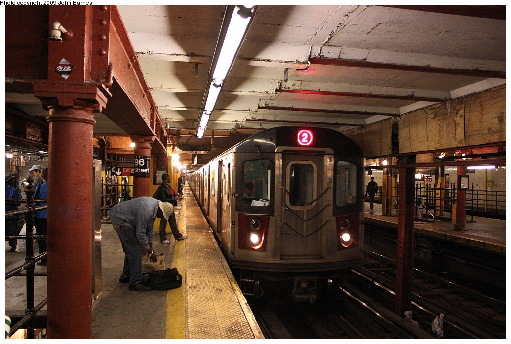 (234k, 1044x703)<br><b>Country:</b> United States<br><b>City:</b> New York<br><b>System:</b> New York City Transit<br><b>Line:</b> IRT West Side Line<br><b>Location:</b> 96th Street <br><b>Route:</b> 2<br><b>Car:</b> R-142 (Primary Order, Bombardier, 1999-2002)  6636 <br><b>Photo by:</b> John Barnes<br><b>Date:</b> 6/15/2009<br><b>Viewed (this week/total):</b> 0 / 2074