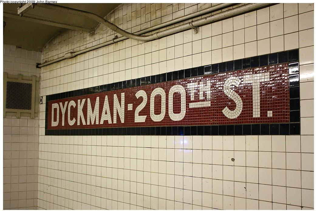 (231k, 1044x703)<br><b>Country:</b> United States<br><b>City:</b> New York<br><b>System:</b> New York City Transit<br><b>Line:</b> IND 8th Avenue Line<br><b>Location:</b> Dyckman Street/200th Street <br><b>Photo by:</b> John Barnes<br><b>Date:</b> 6/15/2009<br><b>Notes:</b> Tile name tablet.<br><b>Viewed (this week/total):</b> 0 / 1573
