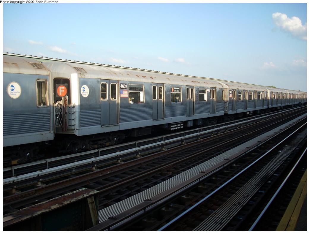 (229k, 1044x788)<br><b>Country:</b> United States<br><b>City:</b> New York<br><b>System:</b> New York City Transit<br><b>Line:</b> BMT Culver Line<br><b>Location:</b> Avenue N <br><b>Route:</b> F<br><b>Car:</b> R-42 (St. Louis, 1969-1970)  4602 <br><b>Photo by:</b> Zach Summer<br><b>Date:</b> 5/31/2009<br><b>Viewed (this week/total):</b> 0 / 1203