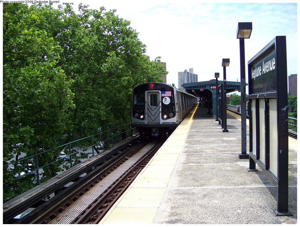 (328k, 1044x788)<br><b>Country:</b> United States<br><b>City:</b> New York<br><b>System:</b> New York City Transit<br><b>Line:</b> BMT Culver Line<br><b>Location:</b> Neptune Avenue <br><b>Route:</b> F<br><b>Car:</b> R-160A (Option 1) (Alstom, 2008-2009, 5 car sets)  9443 <br><b>Photo by:</b> DeAndre Burrell<br><b>Date:</b> 6/2009<br><b>Viewed (this week/total):</b> 1 / 1641