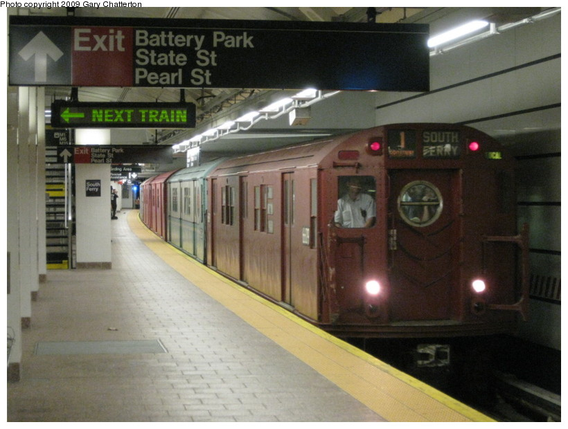 (127k, 820x620)<br><b>Country:</b> United States<br><b>City:</b> New York<br><b>System:</b> New York City Transit<br><b>Line:</b> IRT West Side Line<br><b>Location:</b> South Ferry (New Station) <br><b>Route:</b> Fan Trip<br><b>Car:</b> R-17 (St. Louis, 1955-56) 6609 <br><b>Photo by:</b> Gary Chatterton<br><b>Date:</b> 6/20/2009<br><b>Viewed (this week/total):</b> 1 / 3128