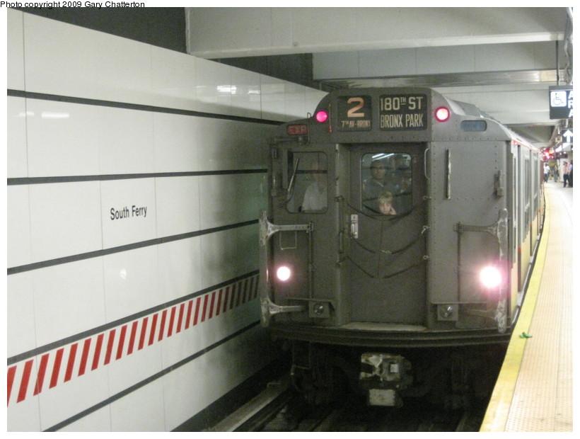 (112k, 820x620)<br><b>Country:</b> United States<br><b>City:</b> New York<br><b>System:</b> New York City Transit<br><b>Line:</b> IRT West Side Line<br><b>Location:</b> South Ferry (New Station) <br><b>Route:</b> Fan Trip<br><b>Car:</b> R-12 (American Car & Foundry, 1948) 5760 <br><b>Photo by:</b> Gary Chatterton<br><b>Date:</b> 6/20/2009<br><b>Viewed (this week/total):</b> 2 / 2170