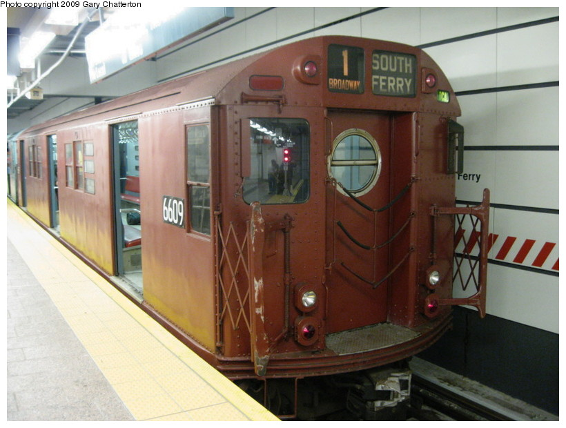 (129k, 820x620)<br><b>Country:</b> United States<br><b>City:</b> New York<br><b>System:</b> New York City Transit<br><b>Line:</b> IRT West Side Line<br><b>Location:</b> South Ferry (New Station) <br><b>Route:</b> Fan Trip<br><b>Car:</b> R-17 (St. Louis, 1955-56) 6609 <br><b>Photo by:</b> Gary Chatterton<br><b>Date:</b> 6/20/2009<br><b>Viewed (this week/total):</b> 1 / 1934