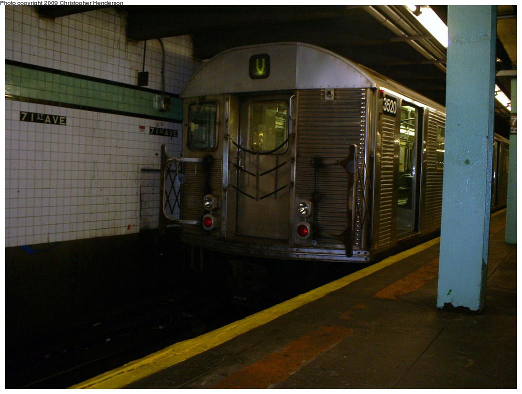 (261k, 1044x788)<br><b>Country:</b> United States<br><b>City:</b> New York<br><b>System:</b> New York City Transit<br><b>Line:</b> IND Queens Boulevard Line<br><b>Location:</b> 71st/Continental Aves./Forest Hills <br><b>Route:</b> V<br><b>Car:</b> R-32 (Budd, 1964)  3520 <br><b>Photo by:</b> Christopher Henderson<br><b>Date:</b> 7/1/2009<br><b>Viewed (this week/total):</b> 1 / 1217
