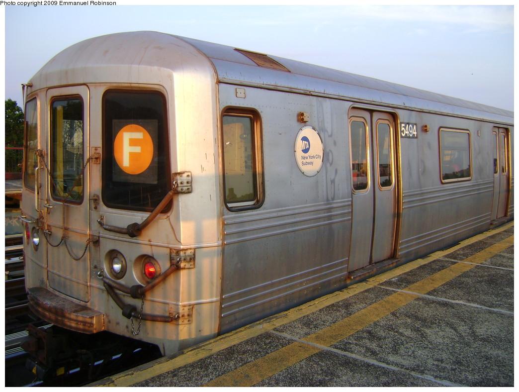 (250k, 1044x788)<br><b>Country:</b> United States<br><b>City:</b> New York<br><b>System:</b> New York City Transit<br><b>Line:</b> BMT Culver Line<br><b>Location:</b> Avenue I <br><b>Route:</b> F<br><b>Car:</b> R-46 (Pullman-Standard, 1974-75) 5494 <br><b>Photo by:</b> Emmanuel Robinson<br><b>Date:</b> 6/25/2009<br><b>Viewed (this week/total):</b> 0 / 1075